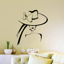A Woman With A Big Hat Retro Style Bedroom Wallpaper Living Room Artistic Decal Removeable Adhesives Murals Vinyl Stickers S-589