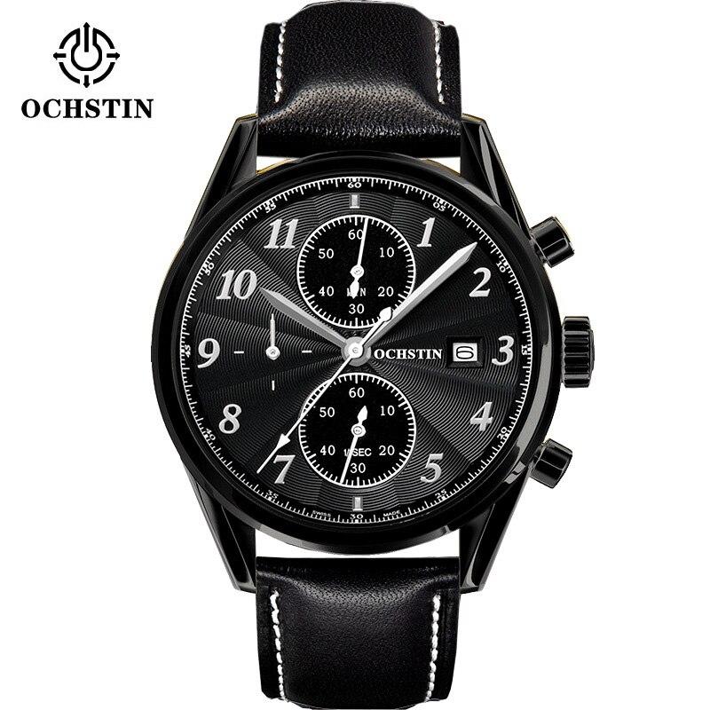 OCHSTIN Fashion Speed Race Chronograph Sport Watch Mens Business Casual Quartz Watches 6 Hands Leather Strap Steel Calendar<br>