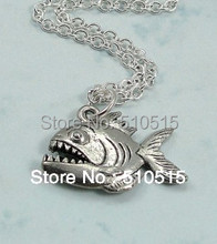 Amazon River Piranha Fish Teeth Pendant Necklace