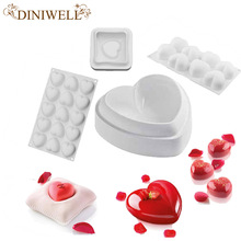 White Silicone 4 Different Types Love Heart Shape Cake Decorating Tools For Chocolate Bakeware Truffles Pudding Non-Stick Mold