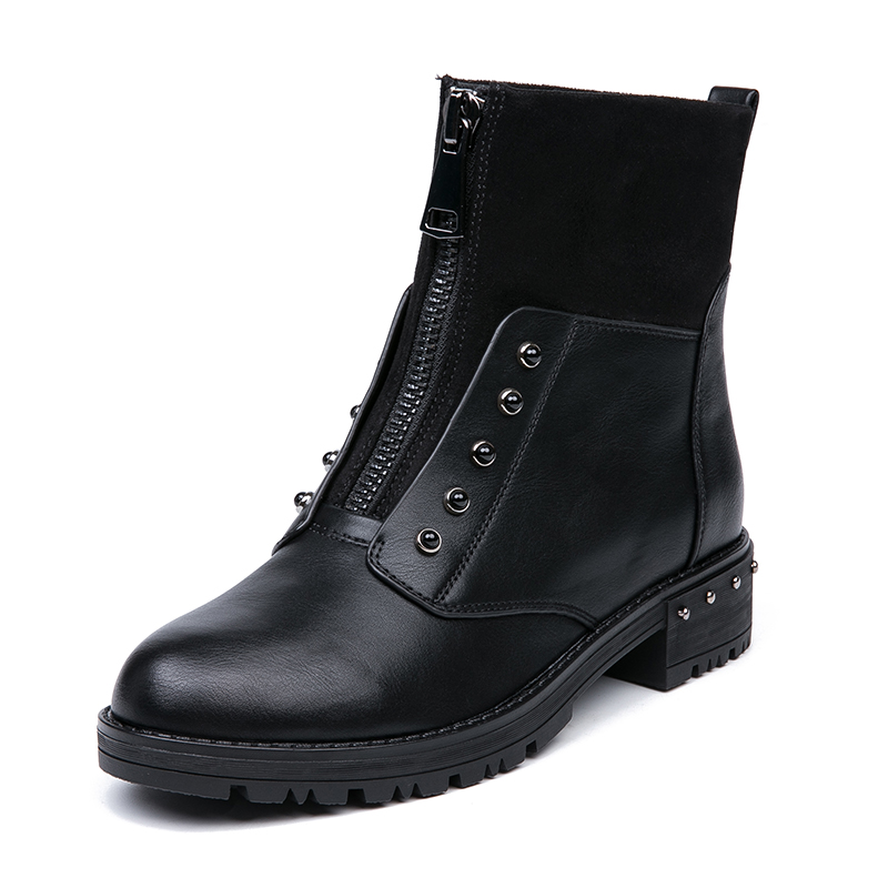 IMG_5639AIMEIGAO Front Zipper Black Ankle Boots For Women Warm Fur Plush Insole Women Boots Low Heel Cool Style Autumn Women Shoes