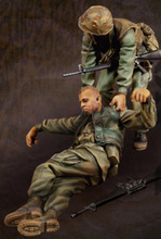 Free Shipping 1/35 Scale Unpainted Resin Figure USMC Fallen Comrade ( 2 figures )(China)