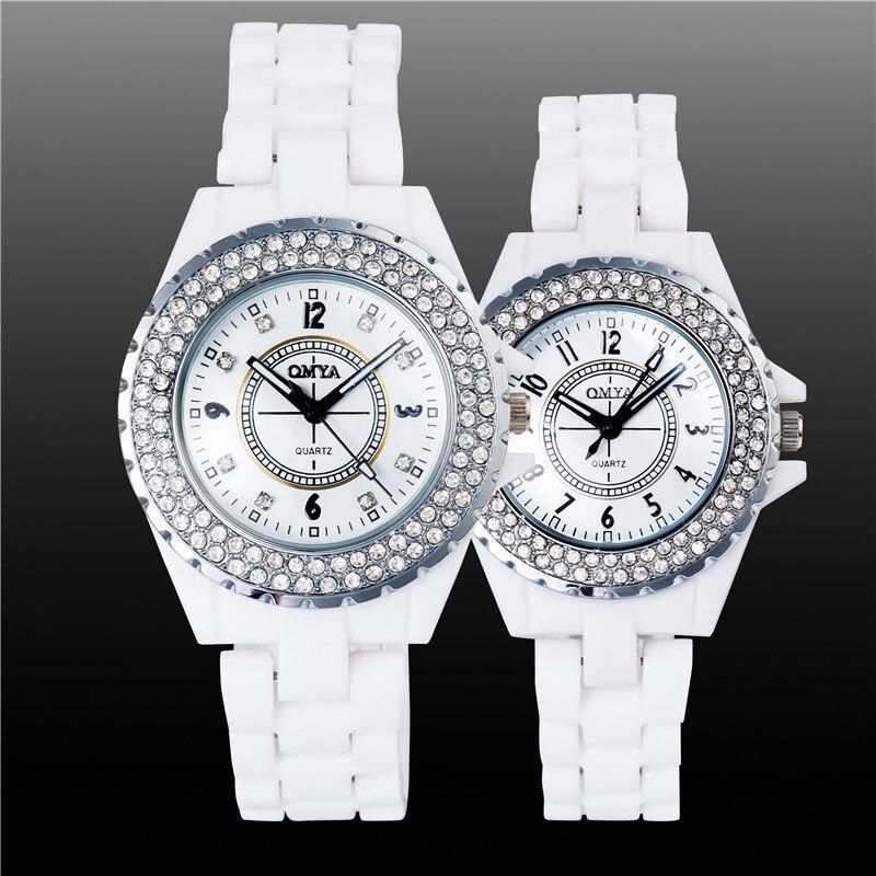 Luxury Pretty White Crystal Rhinestone Ceramic Japanese Movt Quartz Wristwatches Wrist Watch for Women Men Couple<br><br>Aliexpress