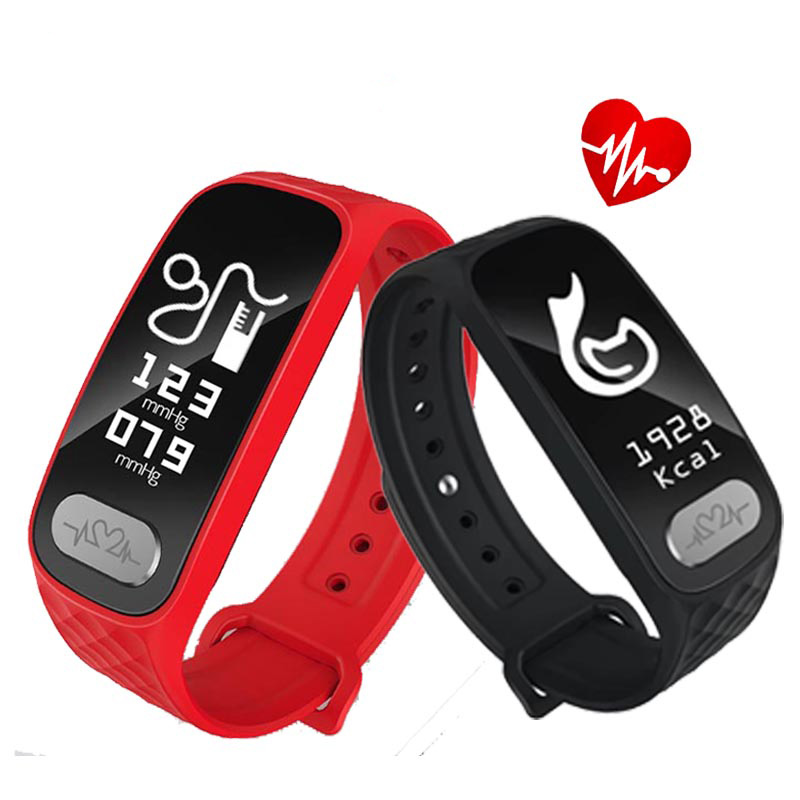 Blood Pressure Men Smart Bracelet ECG Heart Rate Pulse Waterproof Sport Band Alarm Clock Women Smartwatch for Android IOS phone<br>