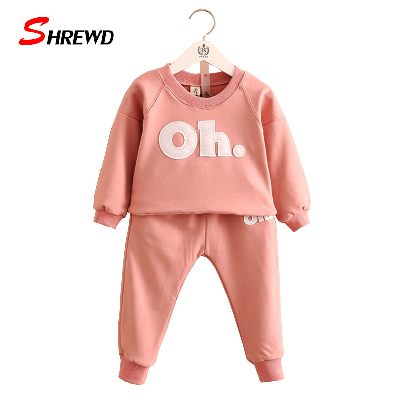 Girl Clothes Set 2017 Autumn New Casual Letter Tracksuit Kids Long Sleeve Sweatshirts+Solid Pants Children Clothing 4057Z<br><br>Aliexpress