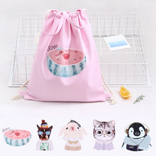 New Fashion Cartoon watermelon cat pattern storage Backpack Travel Drawstring Bag for Travel Shopping Backpacks