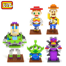 LOZ Toy Story Woody Buzz lightyear Jessie Toy Model action Figure Building Blocks 5pcs/set Original retail Box 14+ Gift(China)