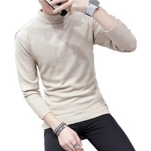 Fashion Pure Color Semi-high-Collar Cashmere Sweater Men Knitted Pullover Sweaters Casual Male Jumper Turtleneck Men's Sweater