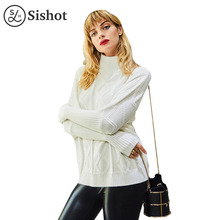 Sishot women casual knitwear 2017 autumn fashion white plain stand collar loose long sleeve knitted fabric casual pullovers(China)