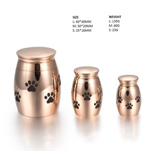 IJU012-1 Rose Gold Pet Paw Mini Ashes Urn High Quality Stainless Steel Dog Paw Print Cremation Urn for Pet Memorial(China)