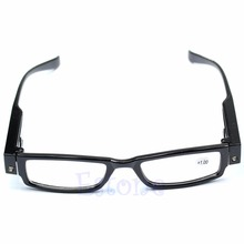 Hot Sell Classic Unisex Multi Strength LED Reading Glasses Eyeglass Spectacle Diopter Magnifier Light UP Eyewear Free Shipping