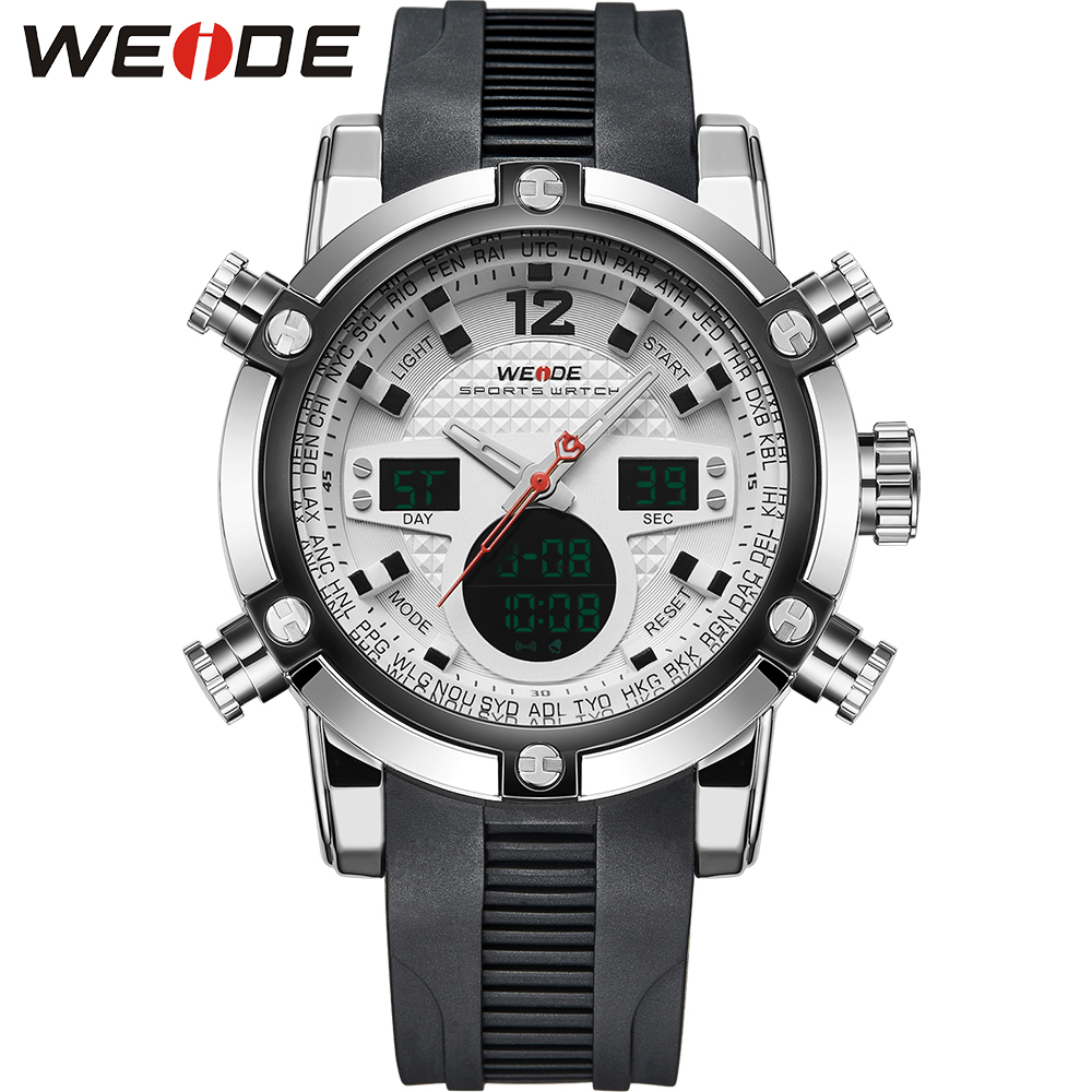 WEIDE Brand Mens Sports Watches Quartz Watch Digital Relogio Masculino Military Dual Time Zone Back Light Display Wristwatches<br><br>Aliexpress