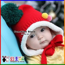 Sunshine store  #2C2612 5 pcs/lot(4 colors)baby hat spirit hat velvet winter knitted beanies colorful earmuff Christmas hat CPAM
