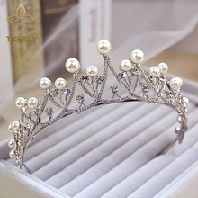 TREAZY Crystal Imitate Pearl Tiara Crown Bridal Hair Accessories Wedding Quinceanera Tiaras And Crowns Pageant Diamante Tiara(China)