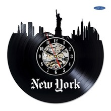 Unique Handmade Newyork City Vinyl Record wall clock, reloj large duvar saati clock mechanism(China)