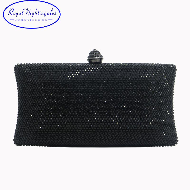 Factory Wholesale Black Womens Crystal Box Hard Case Evening Bags and Clutches<br>