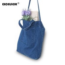EXCELSIOR 2016 Brand Designer Women Denim Tote Shopping Bag Casual Blue Fabric Plain Jean Top Handle Front Pocket Shoulder Bag