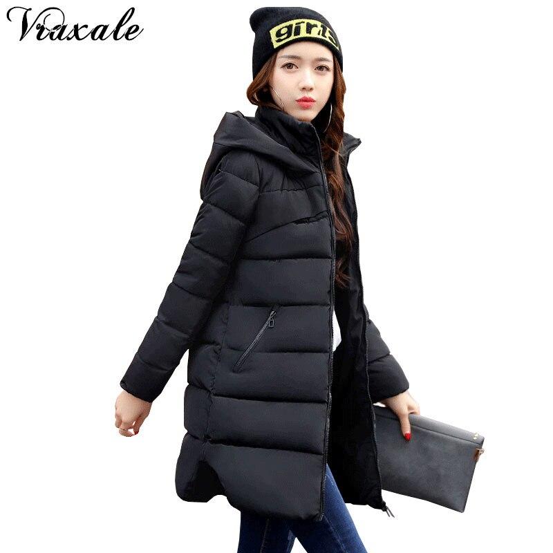 Vraxale Winter New Plus size Jacket Women 2017 Fashion Slim Medium-long Cotton-padded Hooded Jacket Parkas Female  OuterwearÎäåæäà è àêñåññóàðû<br><br>