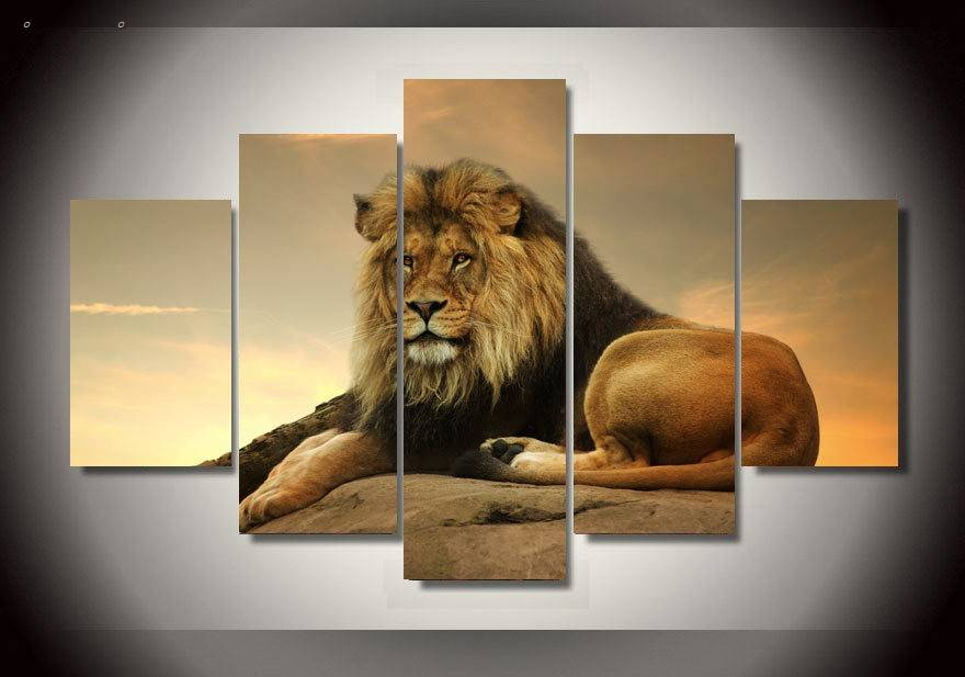 5 Panels Hd Printed Male Lion Wall Art Painting Canvas Print Room Decor Print Poster Picture Canvas P0574 vendor supplier(China (Mainland))