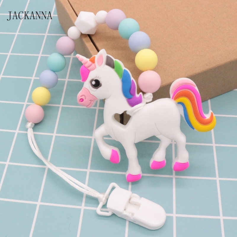 BABY GIRL UNICORN WOODEN DUMMY CLIP//PACIFIER//TOY HOLDER CLIP