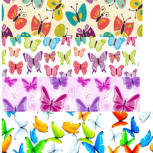 pick color size 16 25 38 50 75 mm width Butterfly Printed polyester Grosgrain Ribbon or Satin Ribbon BF01(China)