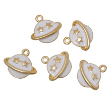 "DoreenBeads Zinc metal alloy Charm Pendants Planet Saturn Gold Color White Star Carved Enamel 14mm( 4/8"") x 13mm( 4/8""),1 Pc"