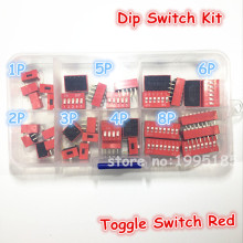35PCS/LOT Dip Switch Kit In Box 1 2 3 4 5 6 8 Way 2.54mm Toggle Switch Red Snap Switches Mixed Kit Each 5PCS Combination Set