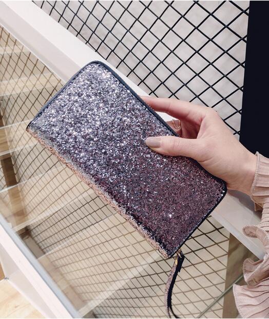 Leather Wallet Women Glitter Sequin Wallets Fashion