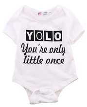 Baby Clothing Newborn Kids Baby Boy Girl Cotton Short Sleeve YOLO Bodysuits Jumpsuit Children Bodysuit Outfit Clothes Summer