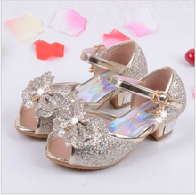 New Style Kids Sandals Dream Dance Shoes For Girls Ladies High Heels Children Party Shoe Leather Sequins Bow Princess Shoe Tide