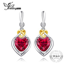JewelryPalace Love Knot Heart 3.4ct Created Red Ruby Anniversary Drop Dangle Earrings Women 925 Sterling Silver 18K Yellow Gold(China)
