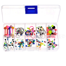 High Quality 100 pcs body jewelry piercing bulk kit for nose lip tongue eyebrow navel belley button women 14g(1.6MM) Multi Color
