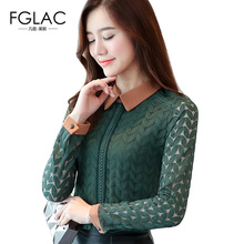 Buy FGLAC Women blouses shirt Fashion Casual long sleeved Hollow lace shirt Elegant Slim plus size women clothing blusas for $12.67 in AliExpress store