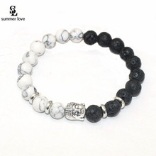 Buy Summer Love Men Jewelry Natural Lava Stone Buddha Bracelet Mala Beads Black White Chakra Bracelet pulseras mujer for $1.29 in AliExpress store