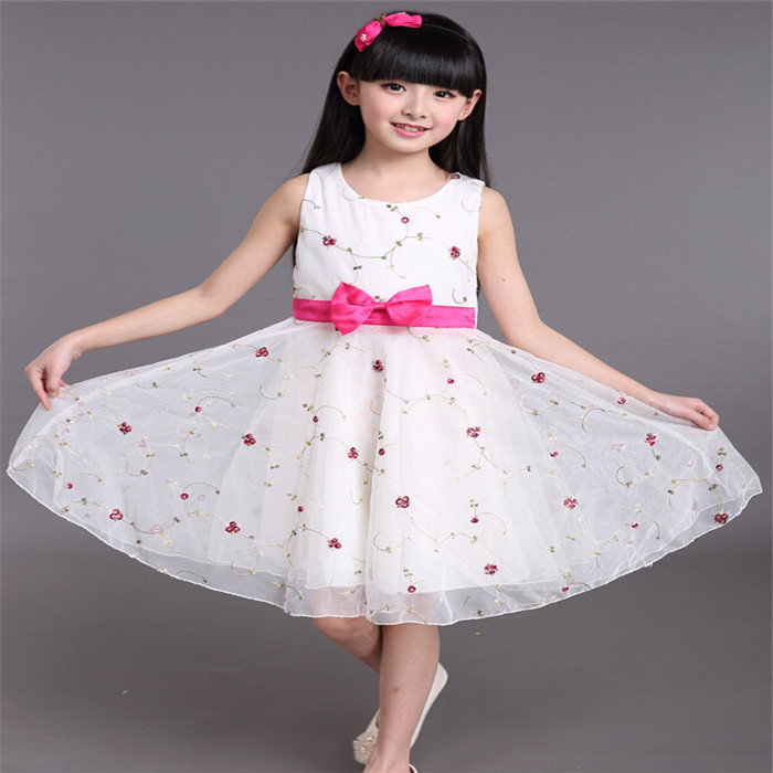Children Bow Cotton Floral A-line Dress  Knee-length Baby Girls  Summer Dresses 2015 Sleeveless Pricecess Vestido<br><br>Aliexpress