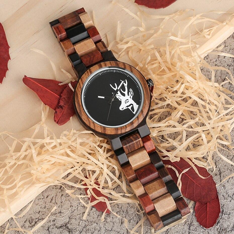 Unique Mixed Color Wood Watch Men Creative Deer Head Elk Clock Man Retro Full Wooden Wrist Quartz Watch Top Luxury Men\`s Watches 2018 2019 (11)