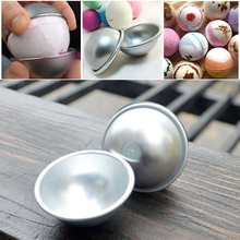 Hot Sale 10pcs/set 3D Aluminum Alloy Ball Sphere Bath Bomb Mold Cake Puddings Pan Tin Baking Pastry Mould 3 Size(China)