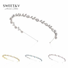 SWEETV Sparkly Rhinestone Headband Crystal Tiara Bridal Hair Band Headpiece Women Hair Accessories for Dance Party Prom Wedding