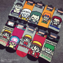18 sets/lot ONE PIECE Socks Luffy / Nami / Robin / Chopper Cotton Anime Socks Free Shipping