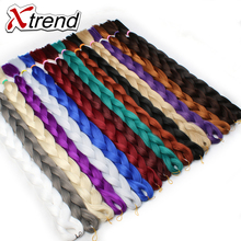 Xtrend 82inch 165g Synthetic Jumbo Braids Crochet Hair Bulk Kanekalon Braiding Hair Extensions Pink Blue White Heat Resistant(China)