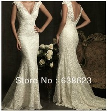 AW095 Elegant V-neck Cap Sleeve Lace Mermaid  Wedding Dress Pattern
