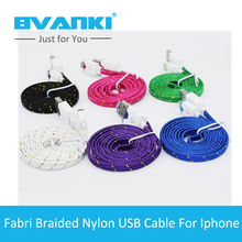 [Bvanki 8Pin]500pcs/Lot Hot Universial 8Pin TPE Flat Braided Woven Fabric Fiber Optic Cable 1M Fast Charging For iphone