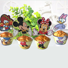 24pcs Mickey Paper Cupcake Wrappers Minnie Mouse Party Supplies for Kids Birthday Party Decoration 12pcs Wrapper+12pcs Topper(China)
