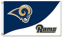 Top design Los Angeles Rams flag 90x150cm outdoor polyester banner with 2 Metal Grommets Wholesale(China)