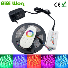 RiRi won SMD5050 RGB LED Strip Waterproof Led Light DC 12V Tape Flexible Strip 5M 10M 15M 20M +Touch RGB Controller+Adapter(China)
