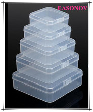 Square PP plastic box transparent parts storage box accessories battery box 5pcs / lot Free Shipping