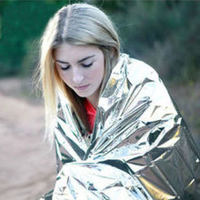 2 pc foil outdoor emergency survival camping sleeping blanket thermal rescue new hiking sporting goods