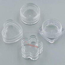 20 pcs / Lot 3g Heart Round Square FlowerCosmetic Empty Clear Pots Eyeshadow Lip jar Balm Nail Glitter Dust Container