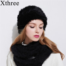 Xthree fashion winter women's hat rabbit fur beanie for girl with knit pom pom Double-deck knitting cap(China)