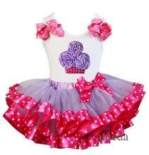 Girls Cupcake, Snails, Elephant, Heart , Butterfly Lavender Hot Pink Satin Trimmed Tutu White Tank Top Pettitop Outfits 1-6Y